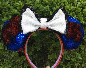 Spider Man Sequin Mouse Ears-Two Tone Sequins Turn from Red to Blue