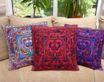 Red embroidered cushion cover, boho cushion, bohemian decor, Thai cushion, Hmong cushion, bohemian cushion, colourful cushion