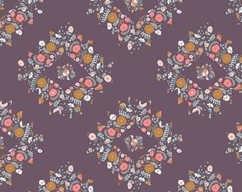 One Yard Cut - Joy Wreaths in Plum - Blithe by Katarina Roccella for Art Gallery Fabrics -  Quilters Cotton - Fabric by the Yard