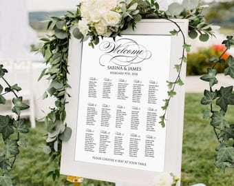 Seating chart wedding printable personalized, Digital wedding seating plan, elegant printable wedding seating chart wedding table assignment