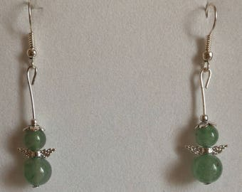 Earrings green aventurine stone for the skin, 8 and 10mm and Tibetan silver wings beads.