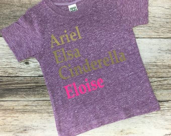 Personalized Princess Tee. Princess Shirt. Ariel shirt. Elsa shirt. Cinderella shirt.