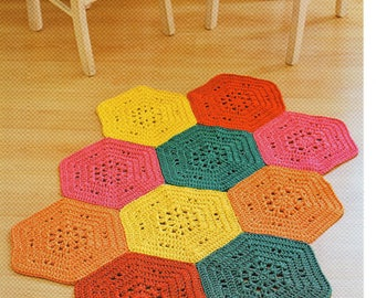 DMC Crochet pattern, Colourful rug ,floor covering ,crochet mat, chunky rug, crochet rug pattern
