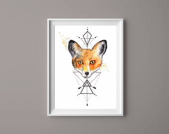 Watercolour Fox Print//A4 or A5// Geometric