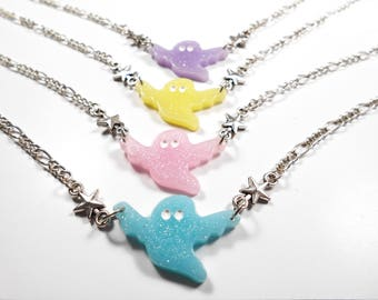 SALE 50% Choker necklace - pastel goth ghost star