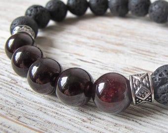 Gift for Him, Men's Diffuser Bracelet, Valentine's Day Gift, Men's Jewelry, Garnet Bracelet, Essential Oil Bracelet, FoxAndBearEssentials