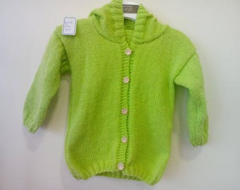 Long sleeves and hood 12 months green CABBAGE