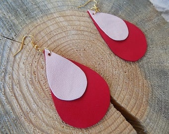 Leather earrings, genuine leather earrings, long earrings, leather jewelry, teardrop earrings, drop earrings, lightweight earrings