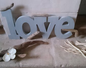 Word LOVE wood and Driftwood