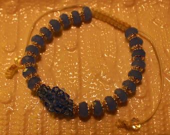 Cute Glass & Crystal-beaded bracelet; handmade, shamballa, beadweaving, beautiful, casual-wear, party-wear
