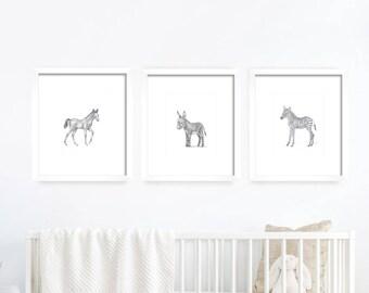 Baby Donkey, Foal, Baby Zebra, Nursery Art. Baby Animals, Nursery Art. Nursery Decor, Nursery Print. Baby's Room Decor. Animal Drawing.