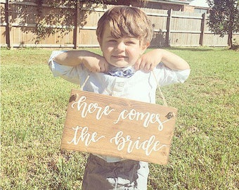 Wedding wood sign wooden sign here comes the bride sign flower girl sign rustic wedding decor wedding decorations wedding sign marriage sign