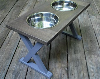 XL - Elevated Dog Bowls - Dog Feeding Station - Farmhouse Table - Raised Dog Feeder - Dog Bowl Stand - Dog Food Stand - Dog Bowls -