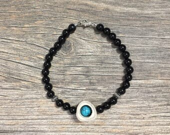 Black Beaded Deer Antler Bead Bracelet with Turquoise Accents