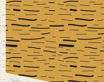 1/2 Yard Organic Cotton Knit Fabric,ORGANIC JERSEY Knit Fabric by Elvelyckan Design, Stripes  Gold