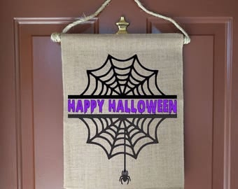 SpiderWeb, Halloween Door Decorations, Halloween Door Decor, Halloween sign, Personalized Door Sign, Spider Web, Front Door Decor, Halloween