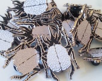 Brain Beetle Pin- Silver plated, Glow in the dark brain