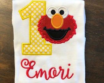 Elmo Birthday Shirt // Elmo Shirt // Girl Birthday Shirt // Monogrammed Birthday Shirt // Elmo 1st First 2nd Second Birthday
