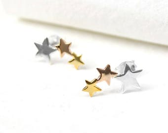 Amya Star Earrings, Sterling Silver, Rose Gold, Yellow Gold, Mixed Metal Earrings, Star Stud Earrings, Star Jewelry, Silver Stars, Gold Star