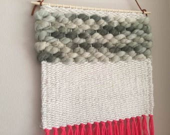 Woven Wall Hanging / Pink + Cream / Modern Weaving / Tissage Mural / Tapestry / Home Decor