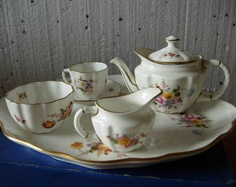 Royal Crown Derby Miniature Tea Set for one Posies Design on Tray, 1st Quality