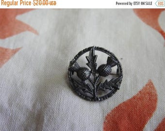 ON SALE exceptional rare estate sterling silver thistle brooch