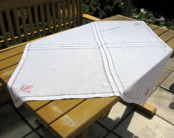 """Swedish Hand Embroidered Linen Tablecloth / White Linen Tablecloth / Square / 45""""x45"""" / Linen Hemstitch/ Pure Linen / Hand Made / Embroidery"""