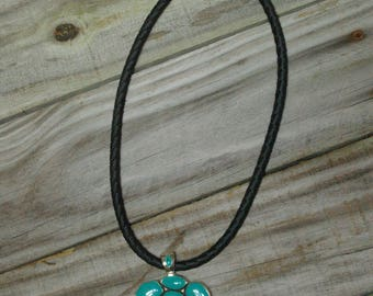 Black leather and Turquoise pendant necklace