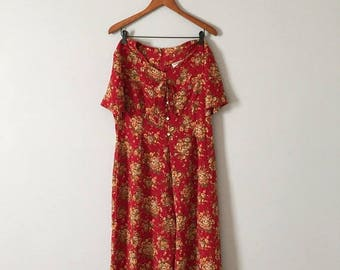 20% OFF SALE... auburn red palazzo pants romper    floral print jumpsuit    bow straps romper
