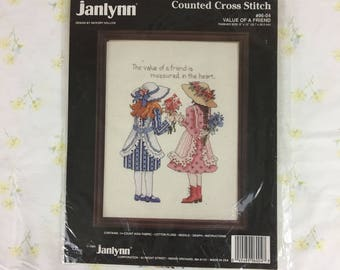 """Rare Vintage Janlynn Value of a Friend #96-04 Counted Cross Stitch Kit / design by Hickory Hollow / new in package / 9"""" x 12"""" / 1991"""