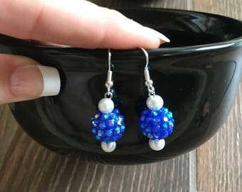Blue Earrings, White Earrings, White Pearl Earrings, Blue and White Earrings