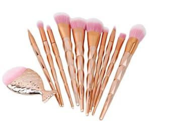 11 Rose Gold Mermaid Brushes