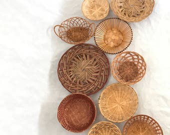Basket Wall, Set of 10 Baskets, Boho Wall Decor, Vintage Baskets, Woven Basket Collection, Basket Set,Basket Wall Art,Boho Art,Bamboo Basket
