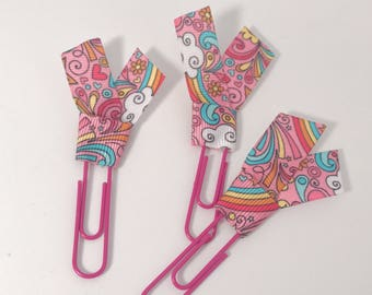 Rainbows and Sunshine Pink Planner Clips School Supplies Accessories Ribbon Paper Clips Back to School or Home Office