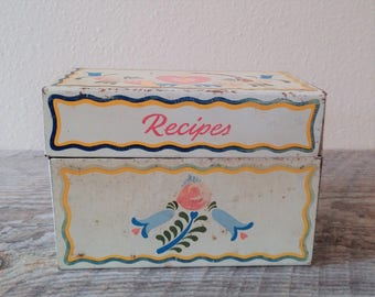 Vintage Tin Recipe Box, Vintage Recipe Box, Ohio Art Co. Recipe Box, Primitive Recipe Box, Rustic Recipe Box, Vintage Kitchen Decor