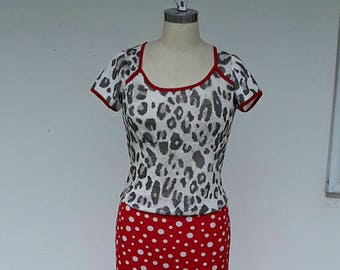 Red and white polkadot  fitted skirt with a free black and white top