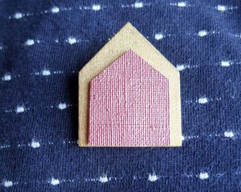 """Brooch """"houses old pink & gold"""""""