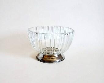 Italian Glass Bowl on Silverplated Pedestal