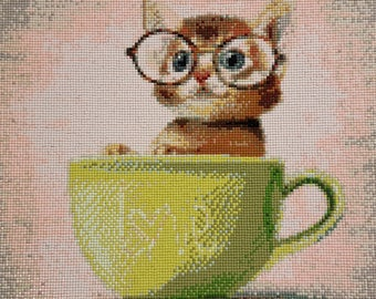 Beautiful / Cute Nerdy Kitty in Teacup / Love Diamond Painting