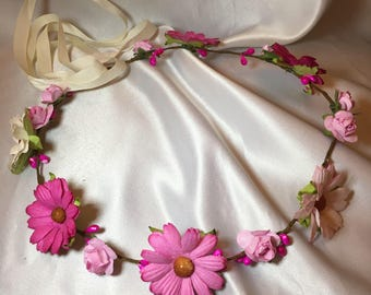 Pink flower crown, wedding hair piece, bridal wreath, hair accessories, festival head band, flower girl, childrens head dress, festival band