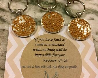 Mustard seed keychain, scripture reminder, faith gift