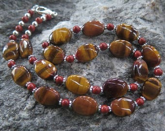 Tiger's Eye Necklace combined with red Jesper and 925 Silver