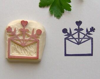 Envelope stamp, Flower stamp, envelope and flower stamp, mail stamp, envelope rubber stamp, happy mail stamp, packaging stamp, rubber stamp