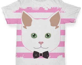 White Cat With Bow Tie Baby Toddler Funny ALL-OVER PRINT Baby T-shirt