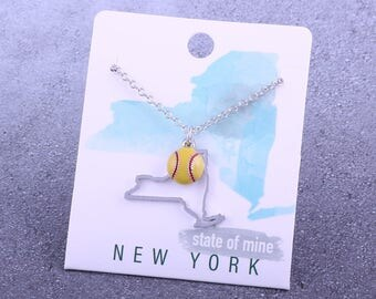 Customizable! State of Mine: New York Softball Enamel Necklace - Great Softball Gift!