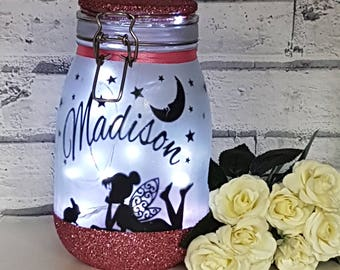 Fairy Night Light,Fairy Light Jar,Fairy in a Jar,fairy Gift,Fairy Garden,Personalised Fairy Gift,Home Decor,Wedding Decor,girls Gift,