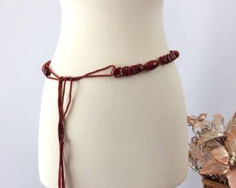 Red wooden beaded belt | 1970s tie  cord belt