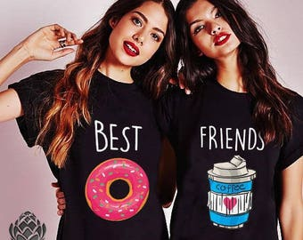 Best Friends shirts, Besties, BFF, Food Lovers, Food Shirts, Coffee and Donut T-shirts, Matching Friends T-shirt Gift, 100% cotton, UNISEX