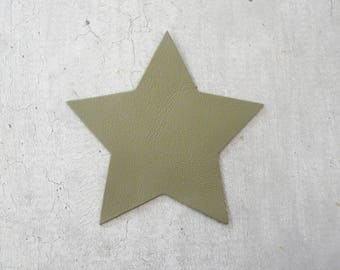 large star 9 cm khaki beige thin leather, for creation and customization
