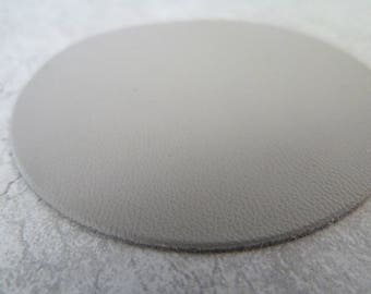large round 6,5 cm thin, light grey leather, for creation and customization